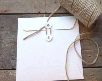 String Tie Envelopes - Vintage Cream Fleck x 10 ( 105mm square)