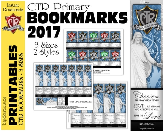 CTR 2017 Printable Primary Bookmarks Choose The Right Theme Handouts, Christ and Scripture. LDS Bookmark Digital Files Instant Download