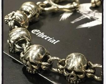 Sterling Silver Skull Bracelet Gold Skull Bracelet Skull Bracelet Multi skull Bracelet Graveyard Skull Bracelet Silver Skull Biker Bracelet