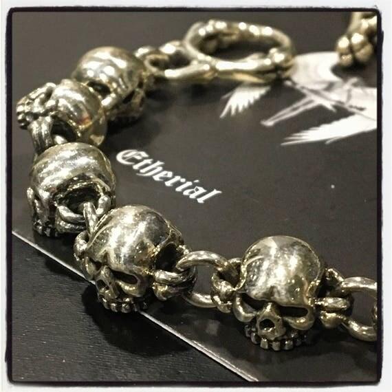 Etherial Jewelry - Rock Chic Talisman Luxury Biker Custom Artisan Pure Sterling Silver .925 Skull Graveyard Multi Skull Biker Bracelet