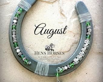 Custom Horseshoe | Horse Décor | Horseshoe Décor | Personalized Horseshoe | August Peridot Birthstone Horseshoe | Lucky Horseshoe | One Name