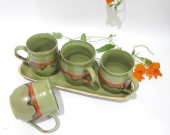 Coffee Mug, Tea Cup, Pottery Mug, Latte Cup, Cappuccino Cup, Handmade Ceramics Tableware in Green and Red