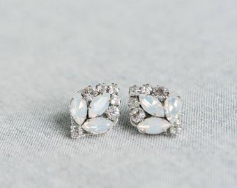 Bridal Earrings Vintage, Wedding Earrings Studs, Bridal Crystal Earrings, Crystal Art Deco Studs
