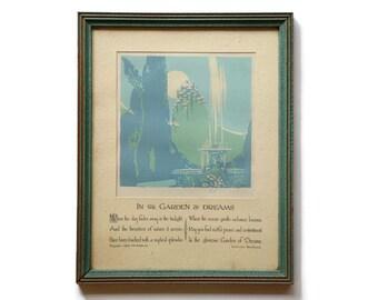 Reserved, Buzza Motto, Buzza Lawrence Hawthorne Print, Lawrence Hawthorn Illustrated Poem, Buzza Lithograph Illustrated Poem, Hawthorn Poem