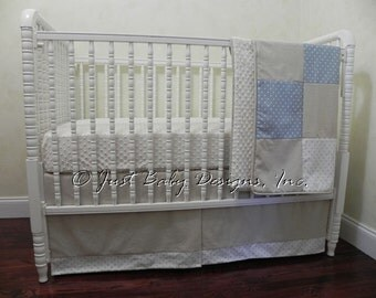 Bumperless Crib Bedding - Boy Baby Bedding, Linen and Blue Baby Bedding