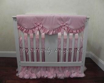 Mini Crib Baby Bedding Set Giselle Pink - Pink Mini Crib Bedding