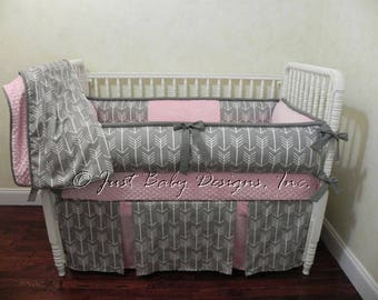 Custom Baby Girl Bedding Set -  Pink and Gray Arrow Crib Bedding, Tribal Crib Bedding, Arrow Baby Bedding