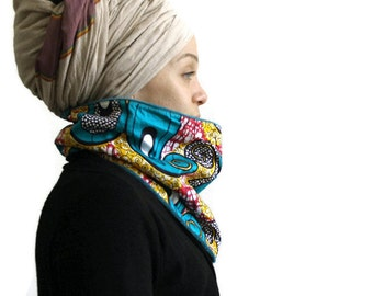 SNOOD - WAX & Fleece fabric - Choose your color - Infinity Scarf for Men and Women - African prints - Hat A Faya -Ready to ship