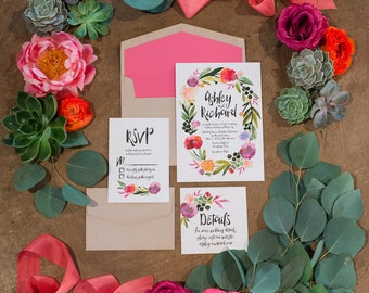 Watercolor Flowers Wedding Invitation Ensemble (50 Invites)