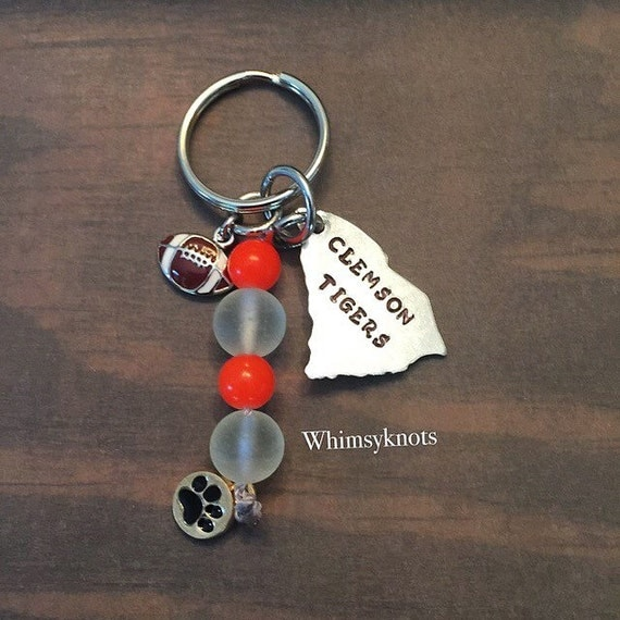 Clemson Tigers keychain/ football life/ clemson South Carolina  keyring--Custom beaded accessories. Hand stamped.