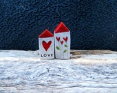 Little Ceramic houses Miniature houses Little rustic cottage Ceramic houses with RED roofs heart and love