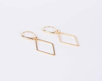 Gold Diamond Shaped Rhombus Earrings Pendant Earrings Dangly Earrings  Golden Earrings