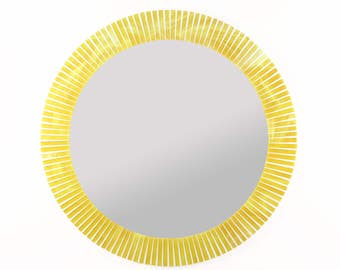 Large Round Wall Mirror for Yellow Home Décor