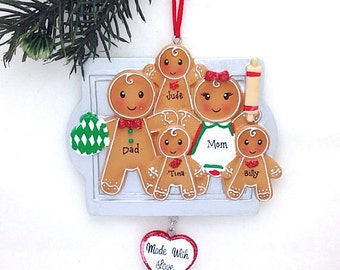 FREE SHIPPING 5 Gingerbread Family Ornament / Made with Love Personalized Christmas Ornament / Gingerbread family Ornament