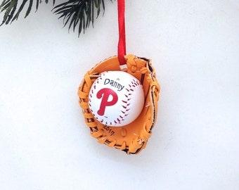 Personalized Phillies Baseball Glove Christmas Ornament / Phillies Baseball Mitt Ornament / Baseball Glove ornament