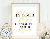 Believe in your Flyness art print with gold Letters hustle motivation office art print typography Kanye West Art Office Art lettering Print