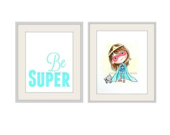 Children's Wall Art, Girls room art, Superhero, Original Painting, Super hero mask, Superhero room for girls, Girls wall Art, Girl Power