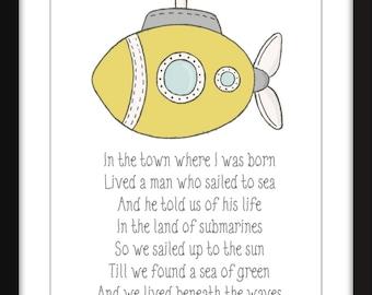 Yellow Submarine The Beatles Lyrics Print Perfect for Child's Bedroom