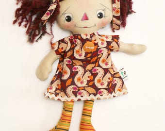 Rag doll, cloth doll, art doll, mouse doll, handmade doll, ooak doll, autumn, wool hair, collectible doll, torvs treasures, primitive doll