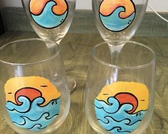 Custom set of 4 stemless wine glasses