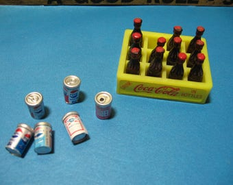 Dolllhouse Miniatures, Coca Cola, Canned Drink, Pepsi, Budweiser, Tab,  Kitchen