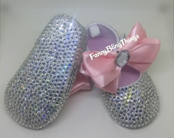 Crystal Pink Bow Bling Baby Shoes