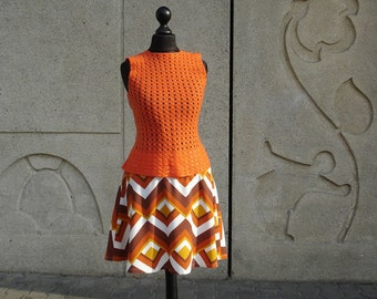 Retro STYLE rock CHELSEA ladies skirt original 60s chevron pattern fabric skirt women 60 s retro