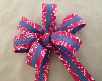 Bandana and denim print bow spring summer rustic country baby shower, picnic, wedding decor for any season gift bows
