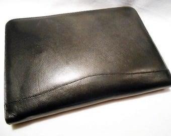 Vintage Bally Black Leather Zip Portfolio Clutch Briefcase, c. 1985