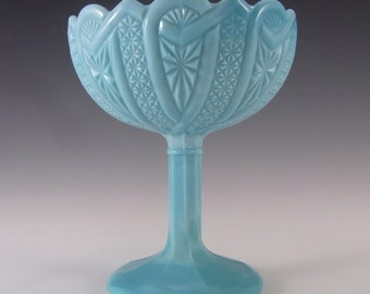 Antique 1890's Victorian Blue Milk Glass Footed Bowl