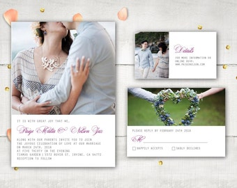 Photo Wedding Invitation and RSVP - Solene Modern Elegant Photo Personalized Suite