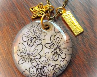 Butterfly pendant, butterfly jewelry, wood pendant, wood jewelry, flower jewelry, blossom, butterfly, pendants