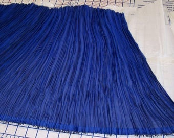 Permantly Pleated Navy Blue Polyester Chiffon Fabric Fortuny Style Pleating 17 Inches Wide By the Yard Accessories Costumes Dolls Crafts