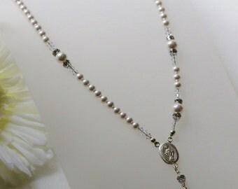 Swarovski White Pearl Catholic Rosary Necklace in Sterling Silver