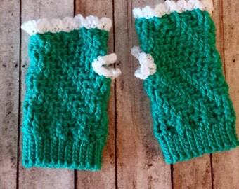 Handmade Crochet Fingerless Gloves, Wrist Warmers, Hand Warmers, Herringbone, Green