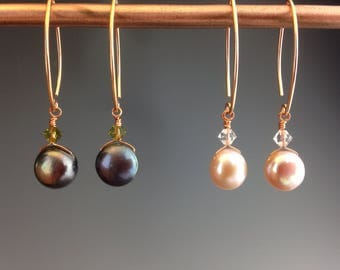 "Mabe Pearl earrings, Bridal jewelry, Wedding jewelry, rose gold earrings, black pearl earrings, black pearl jewelry, ""Pearl Bites"""