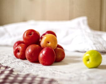 Fruit Still Life Fine Art Photograph,  Farmhouse Kitchen Art, Rustic Kitchen Print or Canvas,