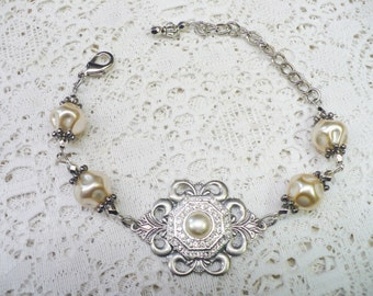 Vintage Ivory PEARL and RHINESTONE Handmade Bracelet - BRIDESMAID Gift - silver tone metal - faux pearl - adjustable  - Repurposed -One (1)