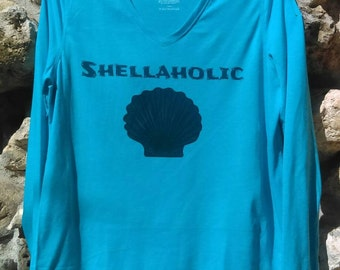 Shellaholic beach shirt, blue seashell shirt