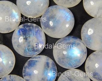5 Pieces Rainbow Moonstone 17X17 MM Round Flat Back Gemstone Cabochon