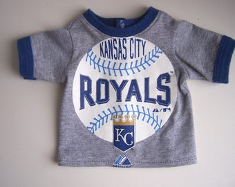 Upcycled Ring Neck Kansas City Royals T Shirt - fits 18 inch boy and girl dolls