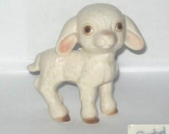 Goebel W Germany 190 Baby Lamb Animal Figurine Standing Ivory and Pink