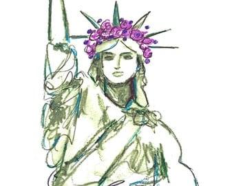 Top Selling Art Print, Statue of Liberty Clip Art, Printable Greeting Card, Watercolor Printables, Fashion Print, Statue of Liberty, NYC Art