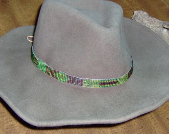 Multicolored  Glass Bead  Hat-Band with  Genuine Tan Leather ends and String ties help bring out the rustic in you!