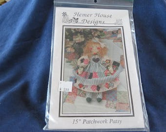 "Vintage PATCHWORK Patsy 15"" DOLL Hemer House Designs, Sewing Pattern UNCUT"