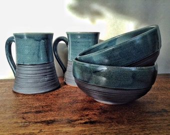 Cup and Bowl Set, breakfast for two pottery, aniversery gift, hand thrown and carved pottery