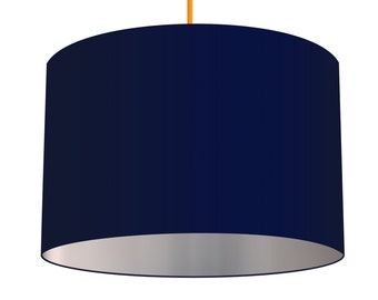 Navy Blue Linen Fabric Drum Lampshade With Brushed Metallic Silver Effect Lining, Small Lampshade 20cm - Large Lampshade 40cm