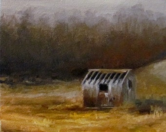 Original OIL Painting by CES - Canada Landscape Old Farm Building Farmyard Autumn Trees Mini ART Fall Field Small Saskatchewan Rustic 6""