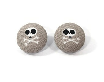 skull and cross bones stud earrings - kawaii skull accessories - grey earrings - fabric button