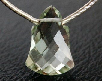 Eye Clean Green Amethyst Faceted Bell Briolette Semi Precious Gemstone Bead
